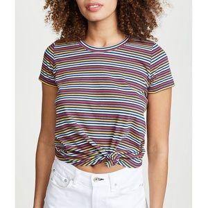 Madewell Multicolor Striped Short Sleeve Knot Tee